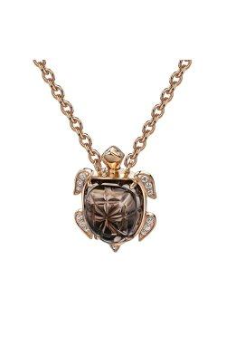 Золотая цепь с подвеской черепаха 45 из красного золота 585-й пробы (343 53)