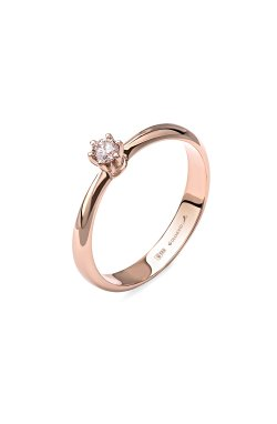 Золотое кольцо с бриллиантом леди 15 из красного золота 585-й пробы (151 0301)