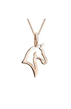 Золотой кулон лошадь из красного золота 585-й пробы (31 403)