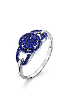 Золотое кольцо россыпь сапфиров 15 из белого золота 585-й пробы (1506334)