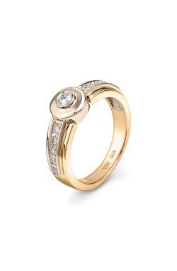 Кольцо бриллиантовая дорожка желтое золото из желтого золота 585-й пробы из белого золота 585-й пробы с бриллиантом (1500402)