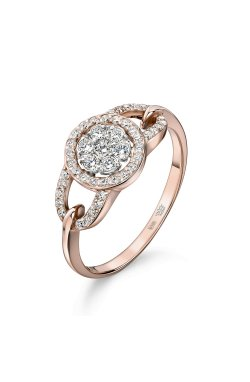Золотое кольцо россыпь бриллиантов 15 из красного золота 585-й пробы (1506 3)