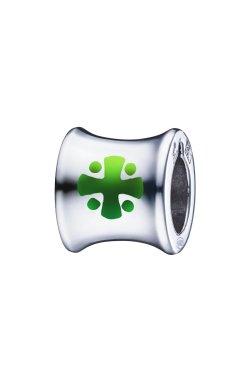 Серебряная бусина шарм с зеленым крестом small из родированного серебра 925-й пробы (3811362 5)