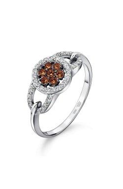 Кольцо россыпь бриллиантов из белого золота 15 из белого золота 585-й пробы (1506 4)
