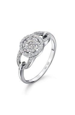 Золотое кольцо россыпь 47 бриллиантов 15 из белого золота 585-й пробы (1506 401)