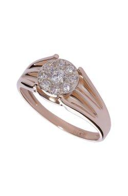 Золотое кольцо с россыпью фианитов .5 из красного золота 585-й пробы (1 7 3)