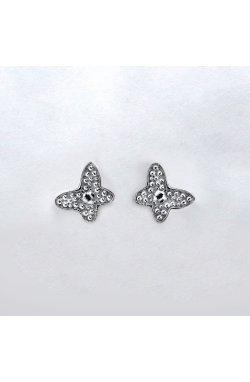 Серебряные серьги пусеты бабочка без вставок из родированного серебра 925-й пробы ( 1559 )