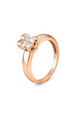 Золотое кольцо с бриллиантом 0.25 ct 15 из красного золота 585-й пробы с бриллиантом (1500603)