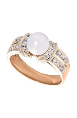 Золотое кольцо с жемчужиной и бриллиантами 15 из красного золота 585-й пробы с бриллиантом жемчугом (1500063)