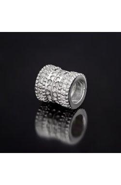 Серебряная бусина шарм сердечность из родированного серебра 925-й пробы с куб. циркониями (32 84 )