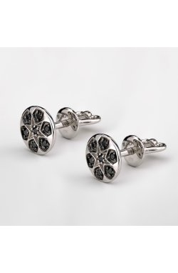 Серебряные серьги пусеты с чёрными камнями из родированного серебра 925-й пробы с куб. циркониями ( 7 1)