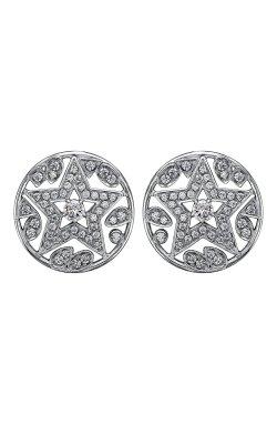 Серебряные серьги блеск 94 фианитов из родированного серебра 925-й пробы с куб. циркониями ( 45 )