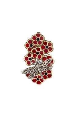 Золотой кулон цветочный с красной эмалью из белого золота 585-й пробы из красного золота 585-й пробы (3 779 1)