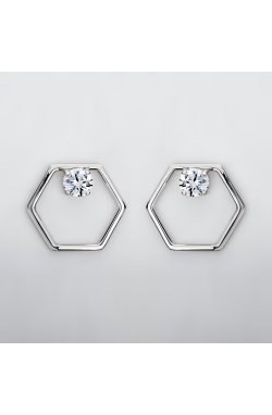 Серебряные серьги шесть граней из родированного серебра 925-й пробы с куб. циркониями ( 49 )
