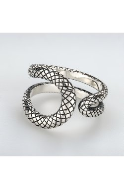 Открытое кольцо из серебра изгибы змеи 15 из родированного серебра 925-й пробы (11 56 )