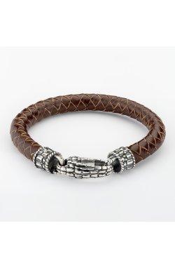 Кожаный браслет с серебряной застежкой голова дракона из родированного серебра 925-й пробы (59 58 )