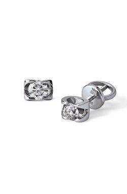 Серьги гвоздики из серебра с фианитами из родированного серебра 925-й пробы с куб. циркониями (2 643 )