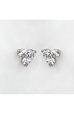 Серебряные серьги пусеты с тремя камнями из родированного серебра 925-й пробы с куб. циркониями ( 79 )