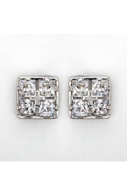 Серебряные серьги пусеты квадрат из родированного серебра 925-й пробы с куб. циркониями (2 471 )