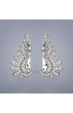 Серебряные серьги взмах крыльев из родированного серебра 925-й пробы с куб. циркониями ( 73 )