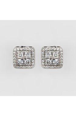 Серебряные серьги пусеты блеск 56 фианитов из родированного серебра 925-й пробы с куб. циркониями (2 499 )