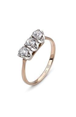 Кольцо с тремя камнями розовое золото из красного золота 585-й пробы с куб. циркониями (1 0723)
