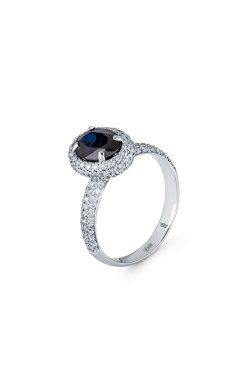 Золотое кольцо роскошь 140 бриллиантов из белого золота 585-й пробы с бриллиантом (151 54)