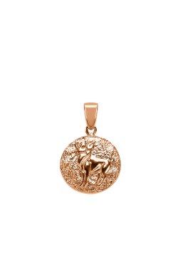 Золотой шарм подвеска знак зодиака овен из красного золота 585-й пробы (3112433)
