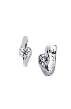 Серебряные серьги с бриллиантами вырощенными орхидея из родированного серебра 925-й пробы (251034 )