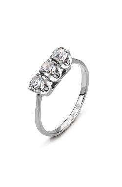 Кольцо с тремя камнями белое золото из белого золота 585-й пробы с куб. циркониями (1 0724)