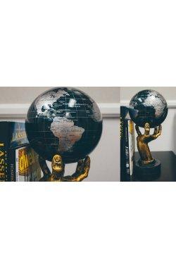 """Гиро-глобус Solar Globe Mova """"Политическая карта"""" 11,4 см серебристо-черный (MG-45-SBE) - wws-9"""