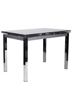 Стол обеденный раскладной Глория хром/стекло платина с узором - AMF - 521257