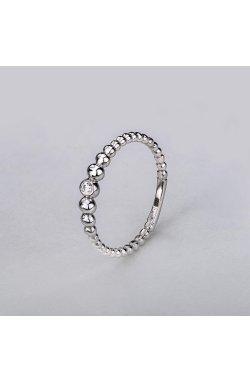 Кольцо серебряные шарики 15 из родированного серебра 925-й пробы с куб. циркониями (11 3 2)