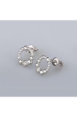 Серебряные серьги шарики из родированного серебра 925-й пробы с куб. циркониями ( 29 )