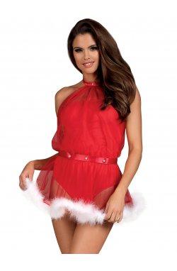 Santastic сукня новорічна червона Obsessive (S/M)