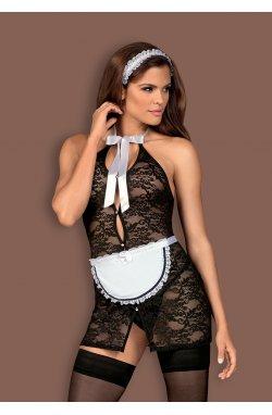Servgirl костюм покоївки чорний Obsessive (S/M)