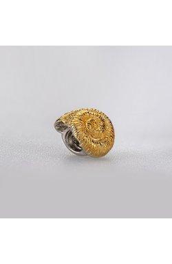 Серебряный шарм подвеска улитка из родированного серебра 925-й пробы (31 44 )