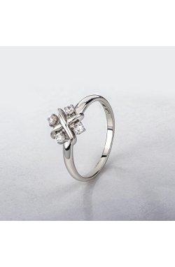 Кольцо с цирконами белое золото из белого золота 585-й пробы с куб. циркониями (12 004)