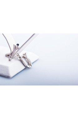 Серебряные серьги с фианитами летнее настроение из родированного серебра 925-й пробы с куб. циркониями ( 84 )