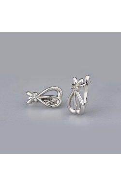 Серебряные серьги с бриллиантами праздничное настроение из родированного серебра 925-й пробы с бриллиантом (25 13 )