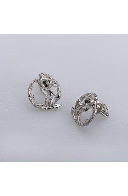 Серебряные серьги птичка на веточке из родированного серебра 925-й пробы с куб. циркониями ( 50 )