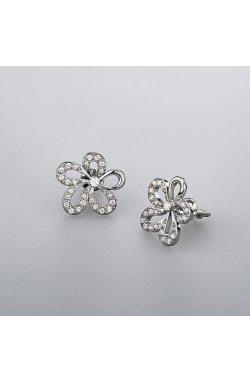 Серьги гвоздики серебряный цветок из родированного серебра 925-й пробы с куб. циркониями ( 81 )