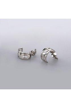 Широкие серьги полукольца из серебра верность из родированного серебра 925-й пробы ( 26 )