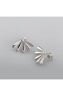 Серебряные серьги лепестки ромашки из родированного серебра 925-й пробы с куб. циркониями ( 97 )