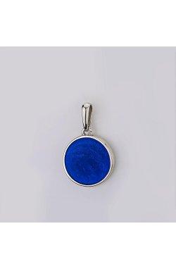 Серебряный кулон с синей эмалью глубина морей из родированного серебра 925-й пробы с полимером (38 012 1)