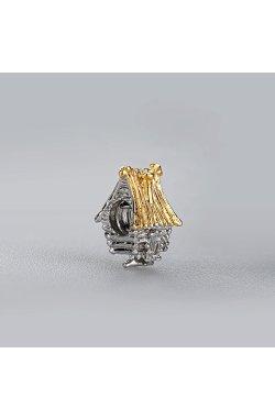 Серебряный шарм подвеска избушка из родированного серебра 925-й пробы (31 48 )