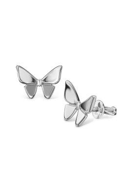 Серебряные серьги пуссеты бабочки из родированного серебра 925-й пробы ( 78 )
