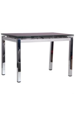 Стол обеденный раскладной Сандро хром/стекло черный - AMF - 545794