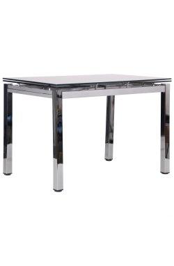 Стол обеденный раскладной Сандро хром/стекло серый - AMF - 545796