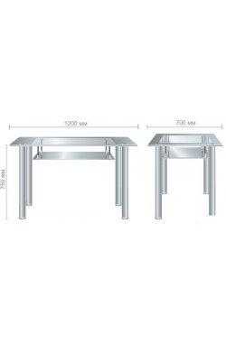 Стол Бетани нерж.сталь/стекло прозрачное антрацит - AMF - 546520